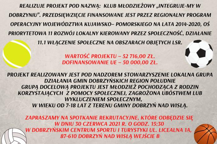 """""""Integruje-MY w Dobrzyniu"""" Rekrutacja do Projektu"""